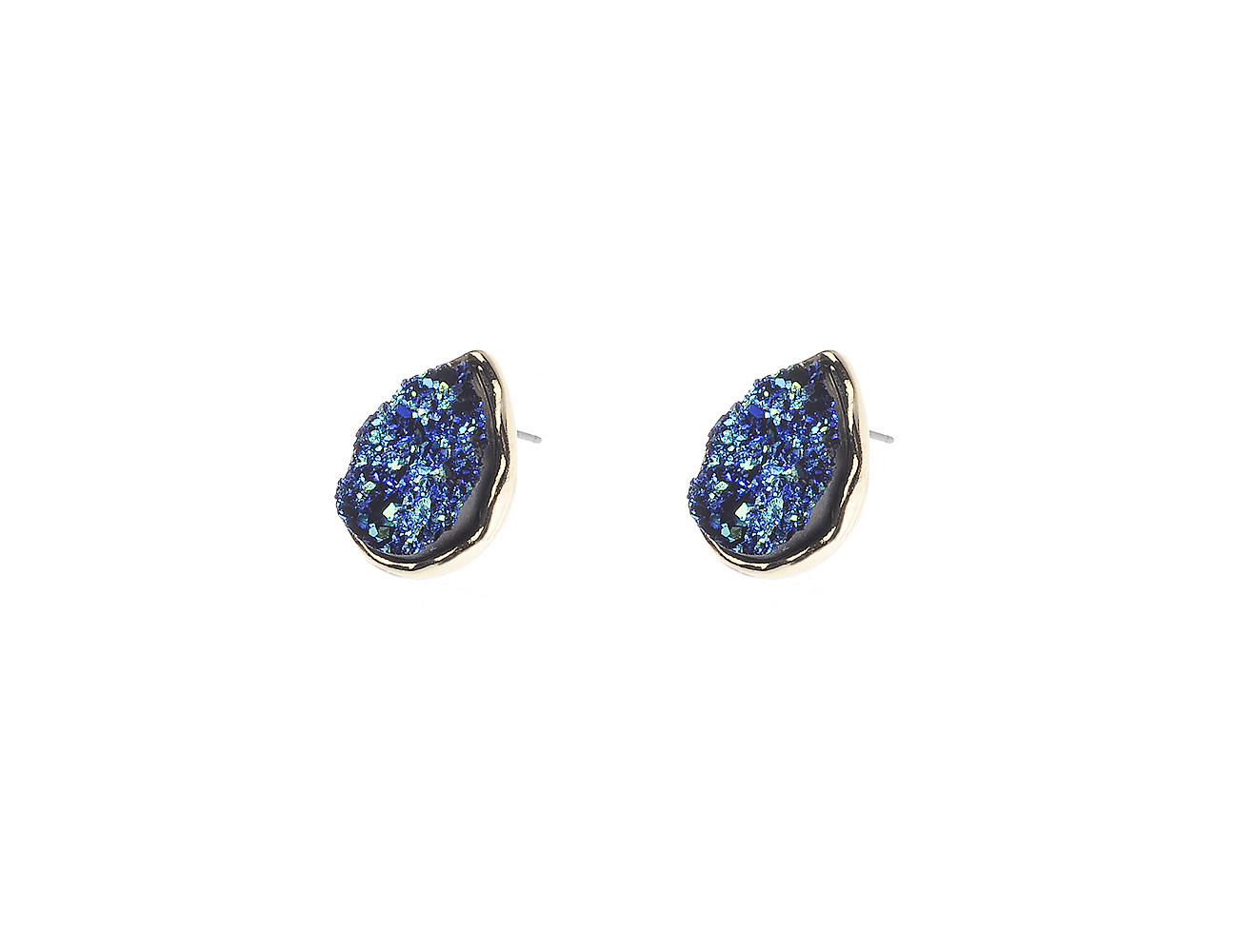 Blue Druzy Teardrop Stud Earrings