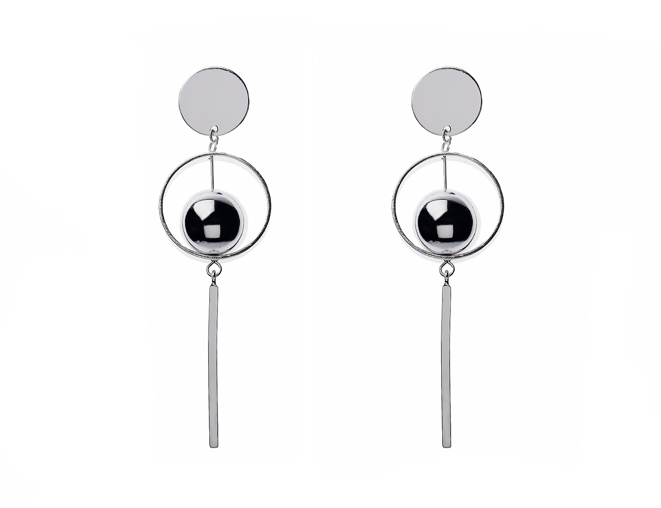 Shainy Silver ball and disc Drop Earring