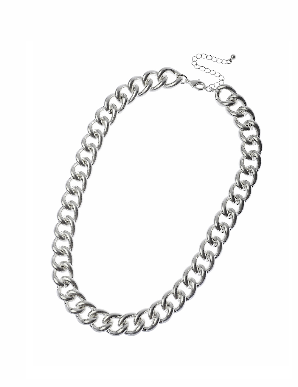 Worn Silver Curb Chain Necklace