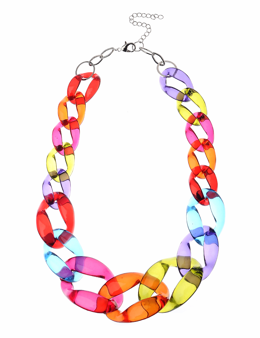 Chunky Multi-Coloured Acrylic Chain Statement Necklace