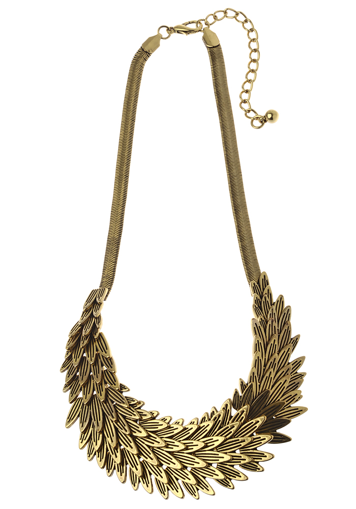 Antic Gold Overlapping Leaf Necklace