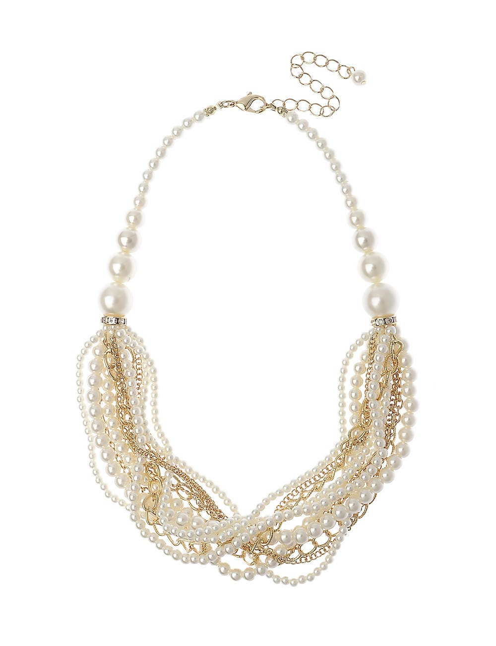 Gold Multi Row Pearl And Chain Necklace