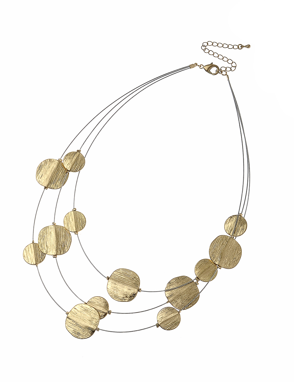 3 Row Gold wirre necklace with gold casting beads