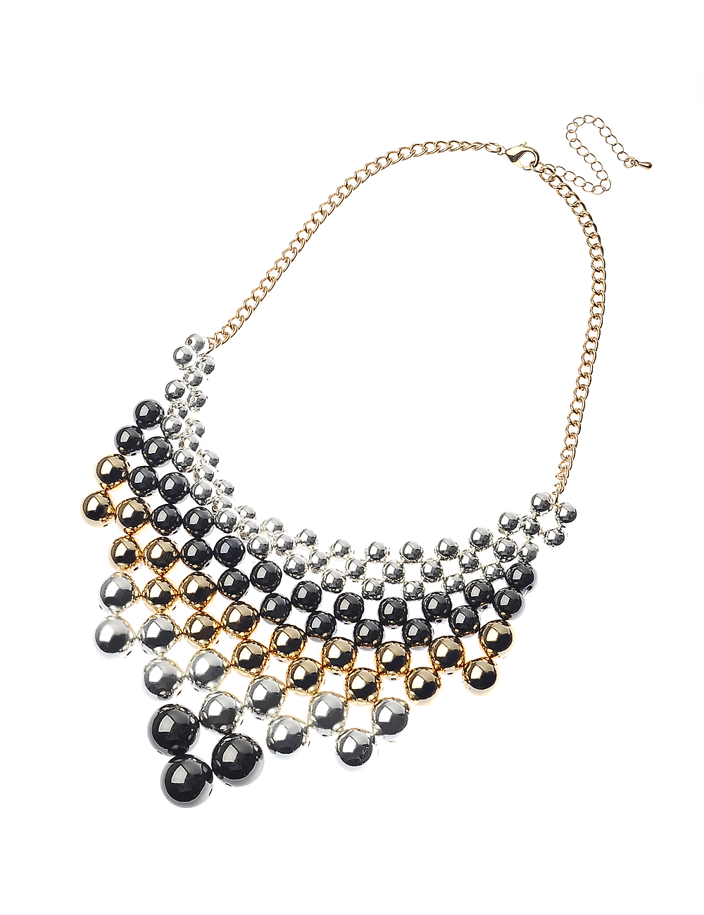 3 tone metal beads stetament necklace