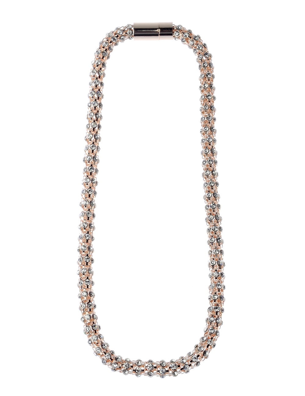 Rose Gold Crystal Necklace With Magnetic Clasp