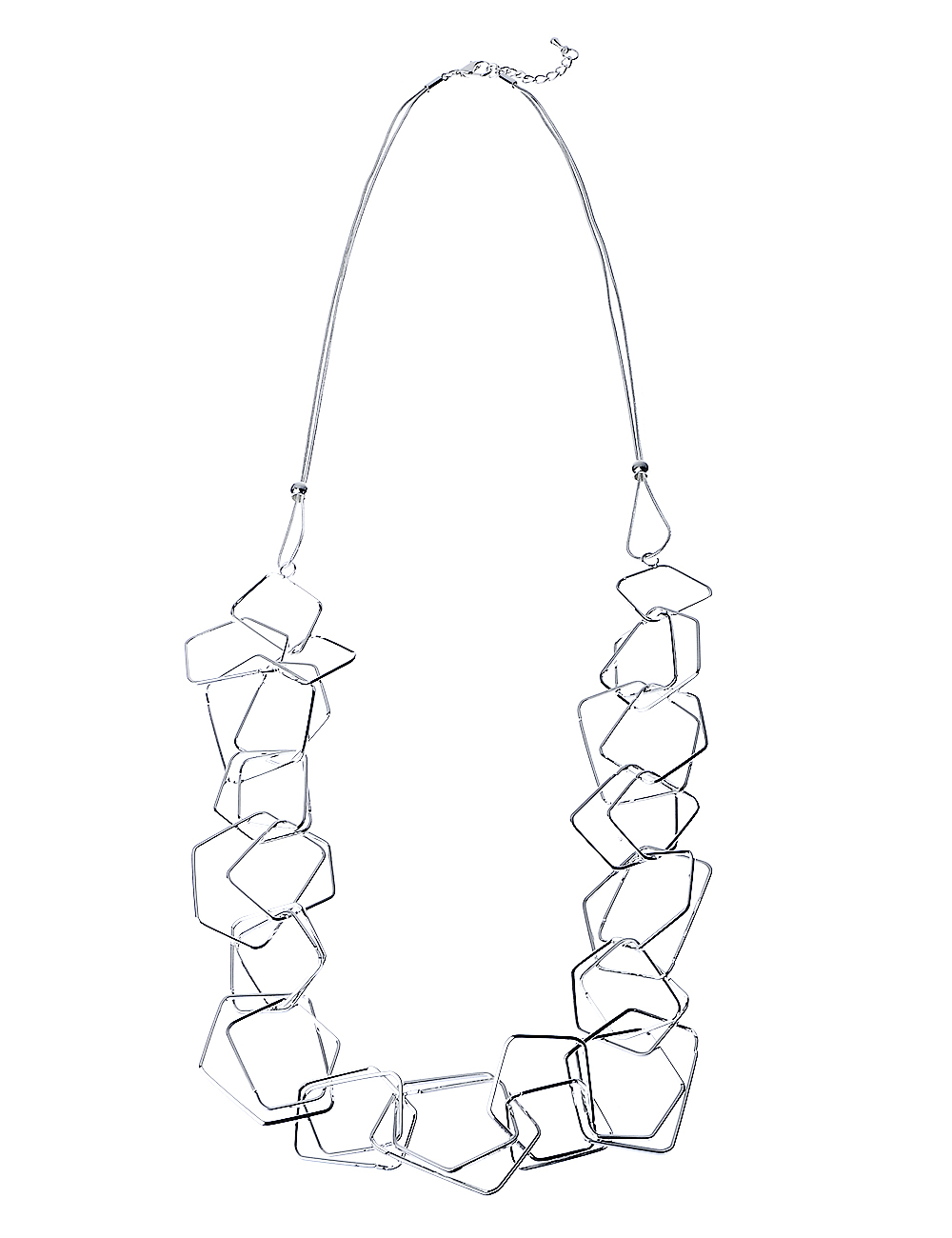 Shiny Silver Long Geometric Necklace