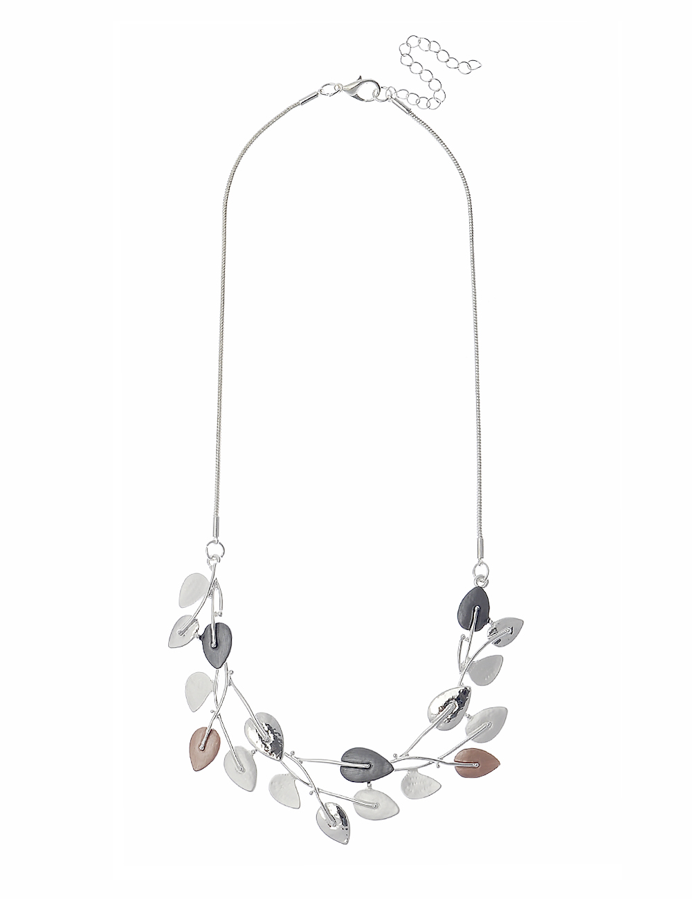 3 Tone Statement Necklace with Beautiful Leaf Design