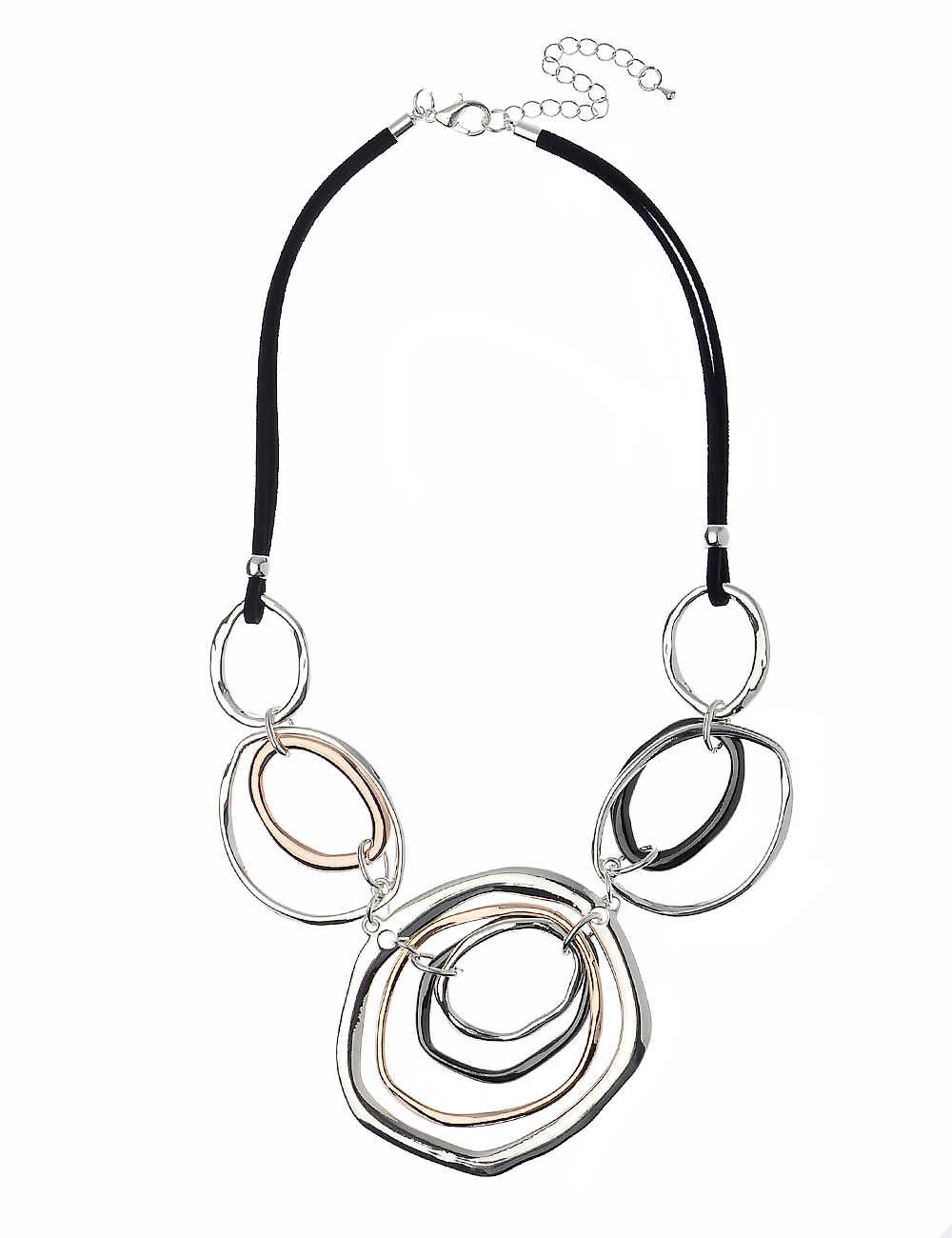 Black Suede Necklsce with Irregular Concentric Rounded Shapes In 3 Meatl Tone