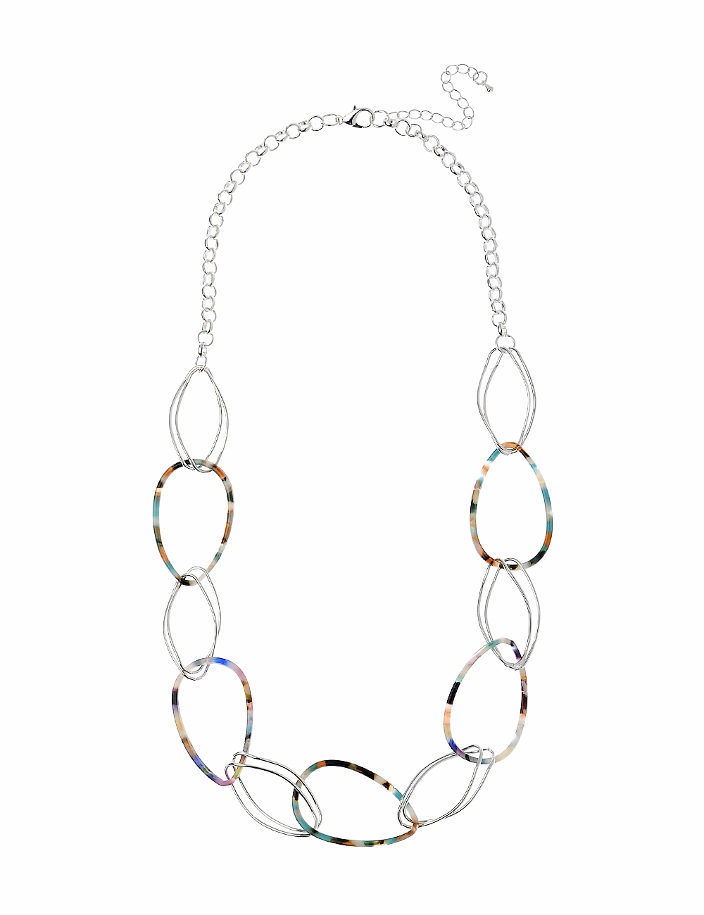 Silver and Resin Oval Necklace