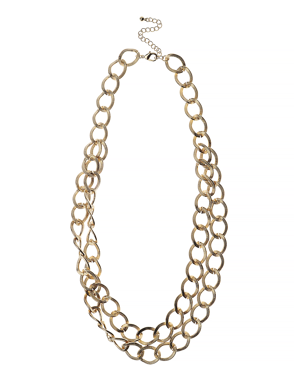 2 Row Gold Textured Link Necklace